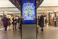 """Promotion for Cirque du Soleil's Broadway musical """"Paramour"""", in Turnstyle, a shopping and foodie arcade in the subway in New York Tuesday, November, 29, 2016. """"Paramour"""" is at the Lyric Theatre and is about the golden age of Hollywood. (© Richard B. Levine)"""