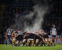 Charlie Davies of London Wasps puts the ball into a set scrum during the LV= Cup second round match between London Wasps and Worcester Warriors at Adams Park on Sunday 18th November 2012 (Photo by Rob Munro)