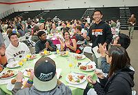 Graduating seniors attend Senior Brunch and Class Day in Rush Gym, May 15, 2015. (Photo by Marc Campos, Occidental College Photographer)
