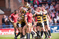 Picture by Allan McKenzie/SWpix.com - 22/04/2018 - Rugby League - Ladbrokes Challenge Cup - York City Knight v Catalans Dragons - Bootham Crescent, York, England - York's Joe Porter is congratulated on his try against Catalans.