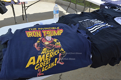 "8/24/16 Jackson,MS. There was a large selection of Donal J. Trump for President t-shirts, hats and buttons for sale outside Jackson coliseum.  Republican Presidential candidate Donald J. Trump held a rally in Jackson Mississippi to a full house of mostly white supporters and calls Hillary Clinton a ""bigot"" during his speech. While in Jackson Trump also made time to squeezed in a very private $1,000 dollar  per person fundraiser. It was so private you did not get the address for the location until the campaign received your donation. Photo © Suzi Altman"