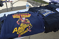 """8/24/16 Jackson,MS. There was a large selection of Donal J. Trump for President t-shirts, hats and buttons for sale outside Jackson coliseum.  Republican Presidential candidate Donald J. Trump held a rally in Jackson Mississippi to a full house of mostly white supporters and calls Hillary Clinton a """"bigot"""" during his speech. While in Jackson Trump also made time to squeezed in a very private $1,000 dollar  per person fundraiser. It was so private you did not get the address for the location until the campaign received your donation. Photo © Suzi Altman"""