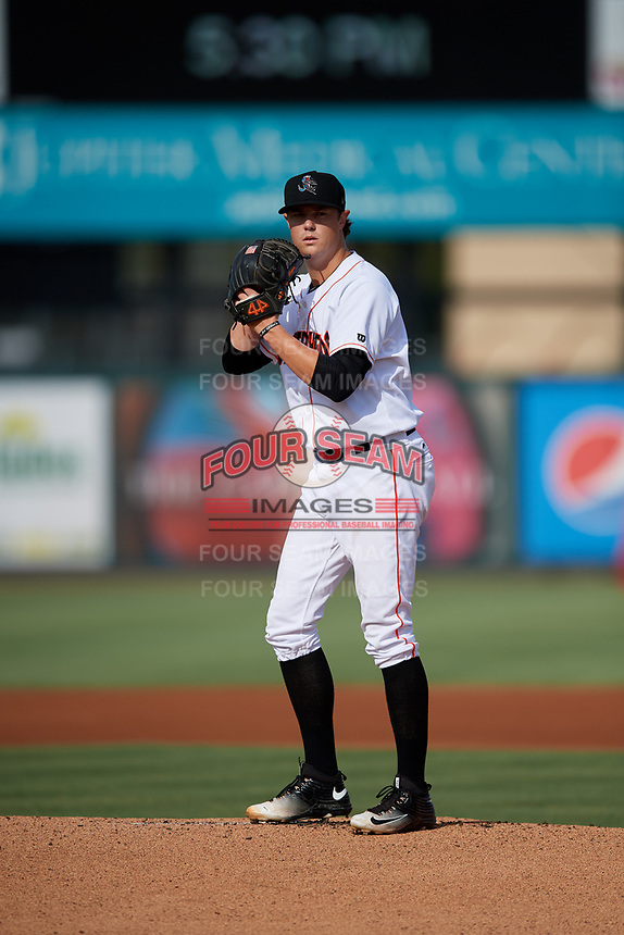Jupiter Hammerheads starting pitcher Dustin Beggs (13) gets ready to deliver a pitch during a game against the Palm Beach Cardinals on August 4, 2018 at Roger Dean Chevrolet Stadium in Jupiter, Florida.  Palm Beach defeated Jupiter 7-6.  (Mike Janes/Four Seam Images)