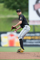 West Virginia Power starting pitcher Eduardo Vera (17) in action against the Kannapolis Intimidators at Kannapolis Intimidators Stadium on June 18, 2017 in Kannapolis, North Carolina.  The Intimidators defeated the Power 5-3 to win the South Atlantic League Northern Division first half title.  It is the first trip to the playoffs for the Intimidators since 2009.  (Brian Westerholt/Four Seam Images)