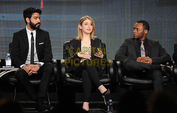 PASADENA, CA - JANUARY 11: (L-R) Rahul Kohl, Rose Melver, and Malcolm Goodwin attend the iZombie presentation at the CW 2015 Winter Television Critics Association (TCA) press tour at The Langham Huntington Hotel and Spa on January 11, 2015 in Pasadena, California. <br /> CAP/MPI/PGFM<br /> &copy;PGFM/MPI/Capital Pictures