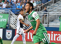 HEMPSTEAD - USA. 13-07-2016: Andres Flores jugador del New York Cosmos celebra después de anotar un gol a Jacksonville Armada FC durante partido por la temporada de otoño 2016 de la North American Soccer League (NASL) jugado en el estadio James M. Shuart Stadium de la ciudad de Hempstead, NY./ Andres Flores player of New York Cosmos celebrates after scoring a goal to Jacksonville Armada FC during match for the fall season 2016 of the  North American Soccer League (NASL) played at James M. Shuart Stadium in Hempstead, NY. Photo: VizzorImage/ Gabriel Aponte / Staff