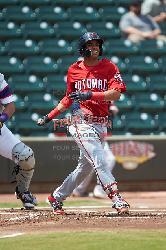 Luis Garcia (16) of the Potomac Nationals follows through on his swing against the Winston-Salem Rayados at BB&T Ballpark on August 12, 2018 in Winston-Salem, North Carolina. The Rayados defeated the Nationals 6-3. (Brian Westerholt/Four Seam Images)