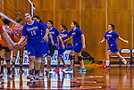 2 November 2014: Yeshiva University Maccabee Middle Blocker Marissa Almoslino, a Sophomore from Seattle, WA, leads the congratulatory line against the Purchase College Panthers at SUNY Purchase College, in Purchase, NY. The Maccabees defeated the Panthers 3-1 in the NCAA Division III Women's Volleyball Skyline matchup. Almoslino ended her 2014 season with 44 Kills, 90 Digs and 24 Aces for the Lady Macs. Mandatory Credit: Ed Wolfstein Photo *** RAW (NEF) Image File Available ***