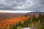 Scenic view from Middle Sugarloaf Mountain in Bethlehem, New Hampshire USA on a cloudy autumn day.