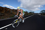 KAILUA-KONA, HI - OCTOBER 13:  Pete Jacobs of Australia on the bicycle portion of the race during the 2012 IRONMAN World Championships on October 13, 2012 in Kailua-Kona, Hawaii. (Photo by Donald Miralle)