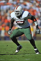 01 November 2008:  Miami De Allen Bailey (57)..The Miami Hurricanes defeated the Virginia Cavaliers 24-17 in OT at Scott Stadium in Charlottesville, VA..