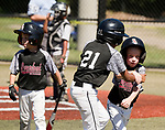 WATERBURY,  CT-071918JS17--Overlooks's Liam Vance (8), right, is congratulated by teammate Lorenzo Rodriguez (21) after coming in to score during their Roberto Clemente tournament game with the Brooklyn (NY) Bonnie's Thursday at Municipal Stadium in Waterbury. <br /> Jim Shannon Republican American