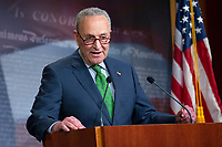 United States Senate Minority Leader Chuck Schumer (Democrat of New York) speaks during a news conference at the United States Capitol in Washington D.C., U.S., on Tuesday, June 9, 2020.  Credit: Stefani Reynolds / CNP/AdMedia