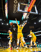 SAN FRANCISCO, CA - NOVEMBER 09: San Francisco, CA - November 9, 2019: Nadia Fingall at the Chase Center. The Stanford Cardinal defeated the USF Dons 97-71. during a game between University of San Francisco and Stanford Basketball W at Chase Center on November 09, 2019 in San Francisco, California.