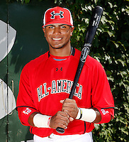 Infielder Jesmuel Valentin #19 poses for a photo before the Under Armour All-American Game at Wrigley Field on August 13, 2011 in Chicago, Illinois.  (Mike Janes/Four Seam Images)