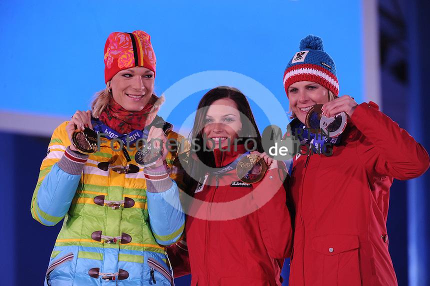 OLYMPICS: SOCHI: Medal Plaza, 15-02-2014, Alpine Skiing, Women's Super-G, Maria Hoefl-Riesch (GER), Anna Fenninger (AUT), Nicole Hosp (AUT), ©photo Martin de Jong