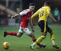 Fleetwood Town's Lewis Coyle vies for possession with Oxford United's Jordan Graham<br /> <br /> Photographer Rich Linley/CameraSport<br /> <br /> The EFL Sky Bet League One - Fleetwood Town v Oxford United - Saturday 12th January 2019 - Highbury Stadium - Fleetwood<br /> <br /> World Copyright &copy; 2019 CameraSport. All rights reserved. 43 Linden Ave. Countesthorpe. Leicester. England. LE8 5PG - Tel: +44 (0) 116 277 4147 - admin@camerasport.com - www.camerasport.com