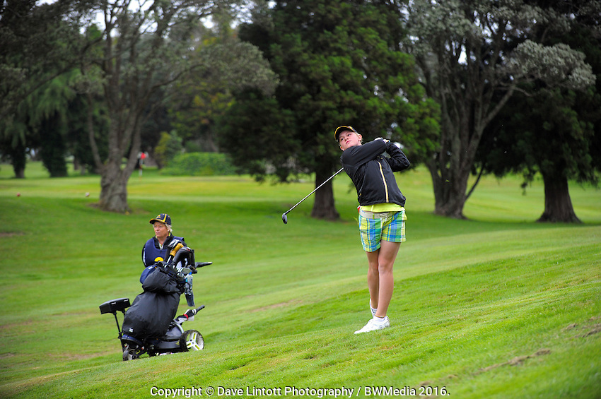 Emmalee Morrell (BoP) plays down the 8th. 2016 Toro Women's Interprovincial Golf Championship at Westown Golf Club in New Plymouth, New Zealand on Saturday, 10 December 2016. Photo: Dave Lintott / lintottphoto.co.nz