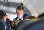 FK Trakai v St Johnstone&hellip;05.07.17&hellip; Europa League 1st Qualifying Round 2nd Leg<br />David Wotherspoon playing cards on the flight to Vilnius in Lithuania<br />Picture by Graeme Hart.<br />Copyright Perthshire Picture Agency<br />Tel: 01738 623350  Mobile: 07990 594431