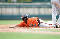 Baltimore Orioles Jacob Brown (53) slides head first into third base during an Instructional League game against the Tampa Bay Rays on October 5, 2017 at Ed Smith Stadium in Sarasota, Florida.  (Mike Janes/Four Seam Images)