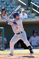 Dusty Robinson #15 of the Stockton Ports bats against the Lancaster JetHawks at Clear Channel Stadium on July 8, 2012 in Lancaster, California. Lancaster defeated Stockton 10-8. (Larry Goren/Four Seam Images)