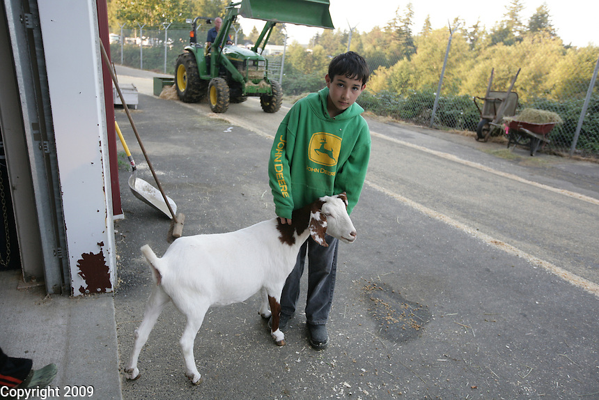 Petey Johnston, 12, of Custer with his boar goat at the NW Washington Fair. August 18, 2009 PHOTOS BY MERYL SCHENKER