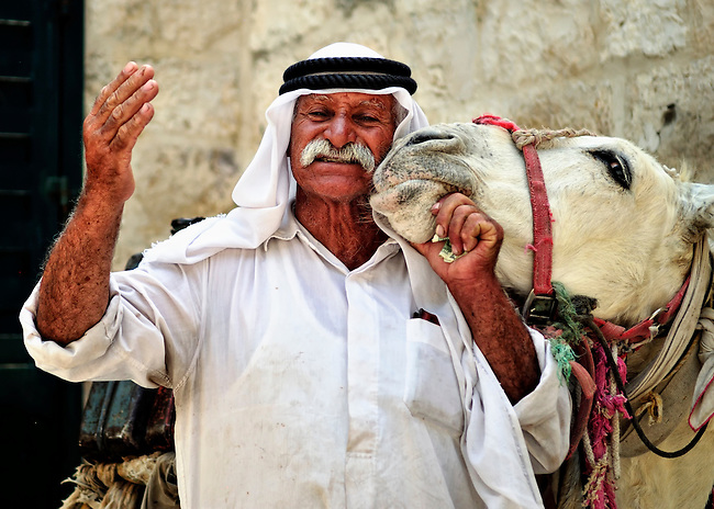 Arab bedouin with donkey in the Old City of Jerusalem, Israel