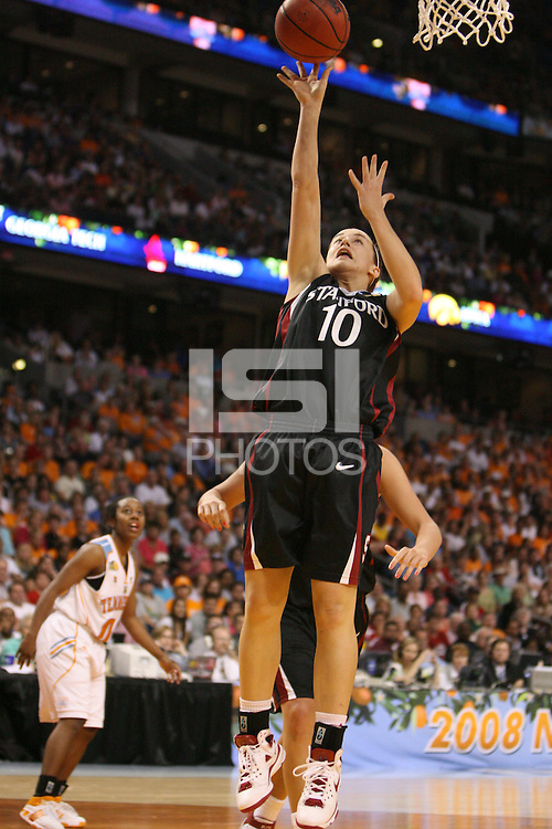 8 April 2008: Stanford Cardinal JJ Hones during Stanford's 64-48 loss against the Tennessee Lady Volunteers in the 2008 NCAA Division I Women's Basketball Final Four championship game at the St. Pete Times Forum Arena in Tampa Bay, FL.