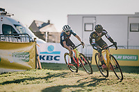 former teammates &amp; both 'pocket atletes' Lars van der Haar (NED/Telenet Fidea Lions) &amp; Tom Pidcock (GBR) turning into the last lap together<br /> <br /> Superprestige Ruddervoorde 2018 (BEL)