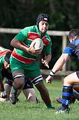 Moti Funaki makes a run at Robert Katu. Counties Manukau Premier Club Rugby game between Onewhero and Waiuku, played at Onewhero on Saturday May 26th 2018. Onewhero won the game 24 - 20 after leading 17 - 12 at halftime. <br /> Onewhero Silver Fern Marquees 24 -Vaughan Holdt, Filipe Pau, Sean Bagshaw tries, Rhain Strang 3 conversions, Rhain Strang penalty.<br /> Waiuku Brian James Contracting 20 - Christian Walker, Fuifatu Asomua, Aaron Yuill tries, Christian Walker conversion, Christian Walker penalty .<br /> Photo by Richard Spranger.