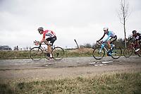 Tiesj Benoot (BEL/Lotto-Soudal) over the Varent cobbles<br /> <br /> 69th Kuurne-Brussel-Kuurne 2017 (1.HC)
