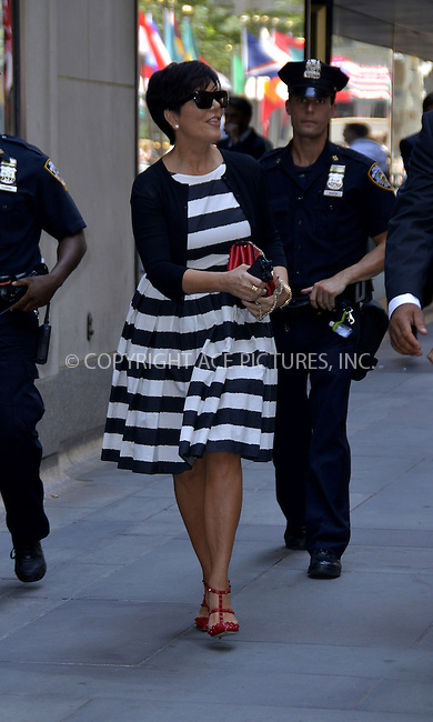 WWW.ACEPIXS.COM<br /> <br /> <br /> July 8, 2013, New York City, NY.<br /> <br /> Kris Jenner out for a stroll in The Garment District on July 8, 2013 in New York City.<br /> <br /> <br /> <br /> By Line: Curtis Means/ACE Pictures<br /> <br /> ACE Pictures, Inc<br /> Tel: 646 769 0430<br /> Email: info@acepixs.com