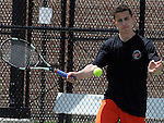 (Boston Ma 051814) Adam Goffstein of Newton North, with  return in a doubles match, during South Sectional Finals, Sunday at Newton North High School, Sunday, May 18, 2014, in Newton. (Jim Michaud Photo) for Sunday