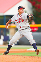 Danville Braves starting pitcher Williams Perez (56) in action against the Burlington Royals at Burlington Athletic Park on July 18, 2012 in Burlington, North Carolina.  The Royals defeated the Braves 4-3 in 11 innings.  (Brian Westerholt/Four Seam Images)