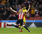 Caolan Lavery of Sheffield Utd held by Daniel Leadbetter of Bristol Rovers during the League One match at Bramall Lane Stadium, Sheffield. Picture date: September 27th, 2016. Pic Simon Bellis/Sportimage