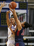 Liberty's Paris Strawther pressures Shalen Shaw of Reno during the Division I championship game in the NIAA basketball state tournament at Lawlor Events Center, in Reno, Nev., on Friday, Feb. 28, 2014. Reno won the state title 50-39. (Cathleen Allison/Las Vegas Review-Journal)
