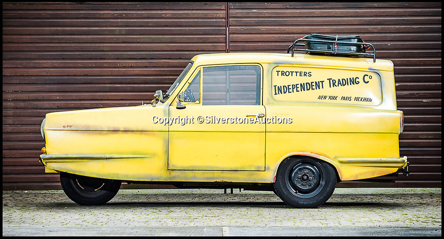 BNPS.co.uk (01202 558833)Pic: SilverstoneAuctions/BNPSNice little earner...<br /> <br /> A yellow three wheeled van driven by Del Boy in Only Fools and Horses has sold for almost £42,000.<br /> <br /> The iconic motor was used in the 2001 episode 'If They Could See Us Now' of the classic sitcom when Del and Rodney had become millionaires.<br /> <br /> The 1968 Reliant Regal van was bought by the BBC who painted it yellow and installed the Trotters Independent Traders sign on it.<br /> <br /> After filming was finished the motor was bought by an Only Fools and Horses superfan who sold it at the weekend.
