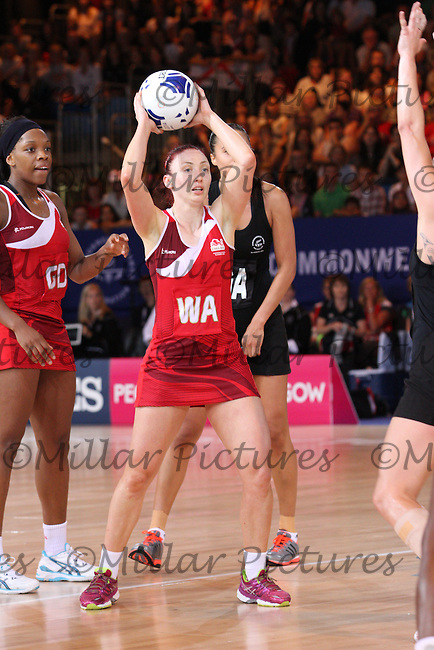 Jade Clarke of Team England in the Team New Zealand against Team England in the Netball Semi Final for the 20th Commonwealth Games, Glasgow 2014 at the Scottish Exhibition and Conference Centre, Glasgow on 2.8.14.
