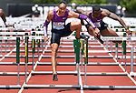 Pascal Martinot-Lagarde of France clears the final hurdle on his way to winning the Men's 110 meter Hurdles on the final day of the Prefontaine Classic at Hayward Field in Eugene, Oregon, USA, 30 MAY 2015. (EPA photo by Steve Dykes)