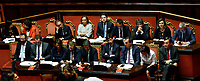 Giuseppe Conte, Luigi Di Maio surrounded by ministers<br /> Rome September 10th 2019. Senate. Discussion and Trust vote at the new Government. <br /> Foto  Samantha Zucchi Insidefoto