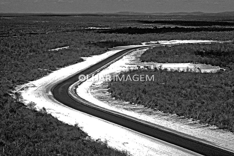 Aérea de canal de irrigação do Jaguaribe. Ceará. 1993. Foto de Juca Martins.