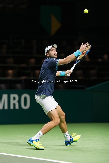 ABN AMRO World Tennis Tournament, Rotterdam, The Netherlands, 14 februari, 2017, Gilles Muller (LUX)<br /> Photo: Henk Koster