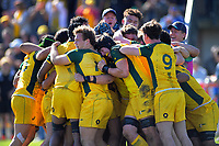 Australian players celebrate winning the rugby union match between New Zealand Schools and Australia Under-18s at St Paul's Collegiate in Hamilton, New Zealand on Friday, 4 October 2019. Photo: Dave Lintott / lintottphoto.co.nz