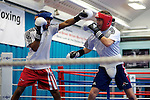 Pix: Shaun Flannery/shaunflanneryphotography.com...COPYRIGHT PICTURE>>SHAUN FLANNERY>01302-570814>>07778315553>>..16th September 2010...........GB Boxing. English Institute of Sport (EIS) Sheffield..Commenwealth Games boxers train at the Sheffield facility..Ian Weaver (red guard) sparrs with team mate Khalid Yafai (blue guard).