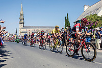 Yellow Jersey Greg Van Avermaet (BEL/BMC) in the peloton rolling through town. <br /> <br /> <br /> Stage 6: Brest > Mûr de Bretagne / Guerlédan (181km)<br /> <br /> 105th Tour de France 2018<br /> ©kramon