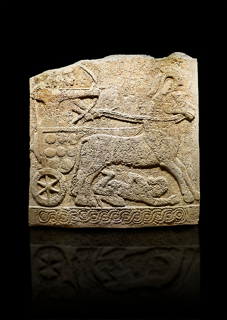 Hittite relief sculpted orthostat stone panel of Long Wall Limestone, Karkamıs, (Kargamıs), Carchemish (Karkemish), 900 -700 B.C. Anatolian Civilisations Museum, Ankara, Turkey<br /> <br /> Chariot. One of the two figures in the chariot holds the horse's headstall while the other throws arrows. There is a naked enemy with an arrow in his hip lying face down under the horse's feet. It is thought that this figure is depicted smaller than the other figures since it is an enemy soldier. The lower part of the orthostat is decorated with braiding motifs.<br /> <br /> On a black background.