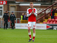 Fleetwood Town's Cian Bolger applauds the fans after the match<br /> <br /> Photographer Alex Dodd/CameraSport<br /> <br /> The EFL Sky Bet League One - Fleetwood Town v Accrington Stanley - Saturday 15th September 2018  - Highbury Stadium - Fleetwood<br /> <br /> World Copyright &copy; 2018 CameraSport. All rights reserved. 43 Linden Ave. Countesthorpe. Leicester. England. LE8 5PG - Tel: +44 (0) 116 277 4147 - admin@camerasport.com - www.camerasport.com