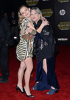 CARRIE FISHER + daughter BILLIE LOURD @ the premiere of 'Star Wars: The Force Awakens' held @ Hollywood & Highland. December 14, 2015