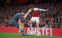 Aaron Ramsey of Arsenal takes on Sebastián Coates of Sporting CP during the UEFA Europa League group match between Arsenal and Sporting Clube de Portugal at the Emirates Stadium, London, England on 8 November 2018. Photo by Andrew Aleks / PRiME Media Images.<br /> .<br /> (Photograph May Only Be Used For Newspaper And/Or Magazine Editorial Purposes. www.football-dataco.com)