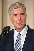United States President Donald J. Trump announces Judge Neil Gorsuch as his nominee to be Associate Justice of the US Supreme Court to replace Justice Antonin Scalia in the East Room of the White House in Washington, DC on Tuesday, January 31, 2017.<br /> Credit: Ron Sachs / CNP